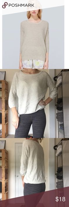 Aritzia Balzac Sweater XS Sweater has no pilling or stains, there is a small hole in one underarm (picture 4)  * Crewneck * Three-quarter length sleeves * Soft and lightweight with a curved hem. * Knit with a luxurious yarn that is a blend of silk, cotton, and cashmere * 55% Silk, 40% Cotton, 5% Cashmere Aritzia Sweaters