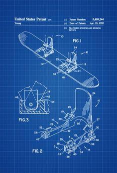 Snowboard Patent - Patent Print, Wall Decor, Ski Lodge Decor, Ski Decor, Cabin Decor, Snowboarder Gift, Snowboarding