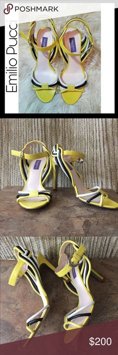 New Emilio Pucci Leather Heels Another perfect for summer item. Worn 1, in excellent condition! Emilio Pucci Shoes Sandals