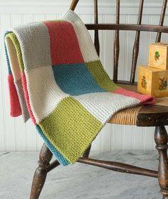 Projects - Wee Ones Five-Color Garter Blocks Baby Blanket Using Debbie Bliss Cashmerino Aran Patchwork Blanket, Crochet Blanket Patterns, Baby Knitting Patterns, Knitted Afghans, Knitted Baby Blankets, Diy Baby Blankets, Easy Knit Baby Blanket, Loom Blanket, Easy Knitting