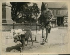 All Around Athlete and Explorer Dr. Jesse Walker with His Dogs (Pal, the Airedale). c. 1926