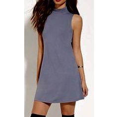 Mock neck shift dress Gray / blue mock neck shift tunic dress. Marked nasty gal for exposure Nasty Gal Dresses Mini