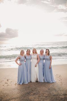 Bridesmaids, beach wedding, beach bride, wedding dress, blue bridesmaids dress, beach wedding, Lusty Glaze Wedding,