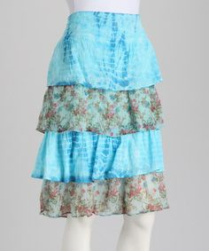 Take a look at this Blue Floral Tiered Skirt by Lazy Daisy on #zulily today!