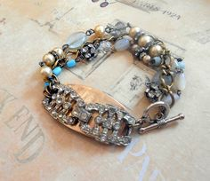 Rhinestone Assemblage Bracelet Sterling Aquamarine by Vinchique