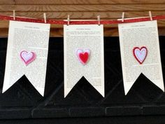 Second Chance to Dream: Valentine's Book Page Bunting