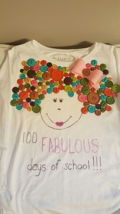 100 Fabulous Days of school shirt hairbow buttons and hair with style