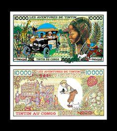 TinTin In Congo Novelty Notes Set of 2 Fun Congo Francs