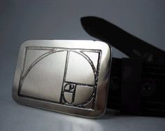 Golden Ratio Belt Buckle - Etched Stainless Steel - Handmade
