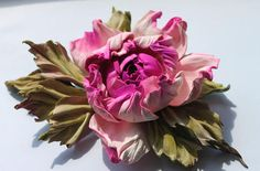 Fuchsia Pink White Green  leather rose flower corsage flower