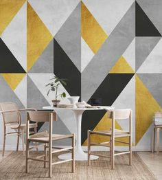 Wall Paint Patterns, Painting Patterns, Gold Interior, Interior Design, Grey And Gold, Gray, Geometric Decor, Wall Murals, Wall Art