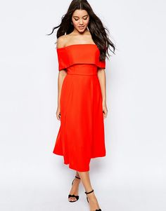 Image 4 of ASOS Soft Off The Shoulder Bardot Midi Prom Dress