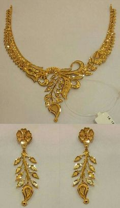 Gold Jewelry Design In India Key: 4670484914 Gold Bangles Design, Gold Earrings Designs, Gold Jewellery Design, Necklace Designs, Handmade Jewellery, Diy Jewelry, Jewelry Sets, Jewelry Rings, Fashion Jewelry