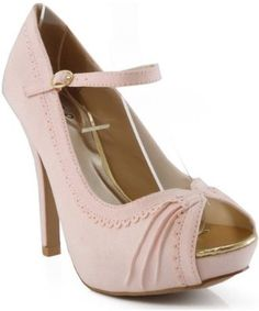 Qupid Precious-33 Scalloped Open Toe Mary Jane Pumps PINK,