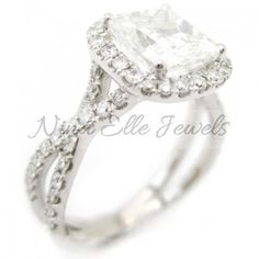 Cushion Cut Twisted Band Diamond Engagement Ring C29