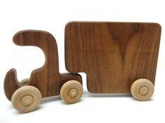 Wood Toy Truck  Semi Truck Natural Organic Walnut by BannorToys, $14.00