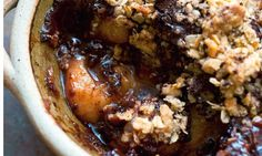 DF: Nigel Slater's pear and chocolate oat crumble- love this!!!!!  Can also Do it all in iron skillet.