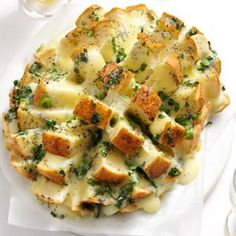 Savory Party Bread Recipe Breads, Appetizers with sourdough bread, monterey jack, butter, green onions, poppy seeds