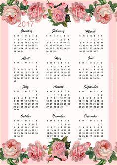 FREE printable vintage rose calendar 2017