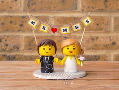 Lego man Lego bride and groom wedding cake topper by GenefyPlayground  https://www.facebook.com/genefyplayground