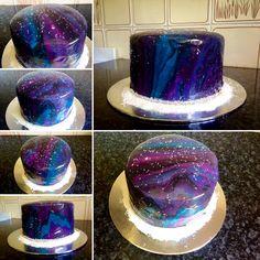 My very first mirror glaze Galaxy cake I made