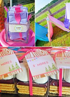 Bright, Pink & Chevron Girls Glamping Party