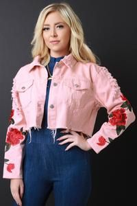 Distressed Floral Embroidery Crop Denim Jacket - Avenue of Angels Love Fashion, Fashion Models, Autumn Fashion, Womens Fashion, Cropped Denim Jacket, Suede Booties, Floral Embroidery, Rain Jacket, Ruffle Blouse