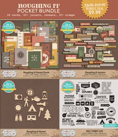 LIMITED TIME DEAL*** Roughing It Pocket Bundle - $9.99 : Peppermint Creative, Digital Scrapbook Supplies