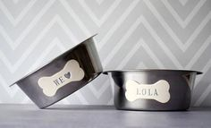 Large Dog Bowls  Personalized Set of Stainless Steel Bowls #welovedogs