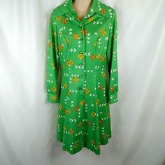 9e6fbd6691f 70s-Vintage-Shirt-Dress-Green-Yellow-Flower-Print-