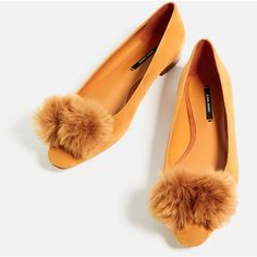 LEATHER POMPOM BALLERINAS - Flats-SHOES-WOMAN | ZARA United States ($50) ❤ liked on Polyvore featuring shoes, flats, flat pump shoes, leather flat shoes, flat ballet pumps, ballerina flats and real leather shoes