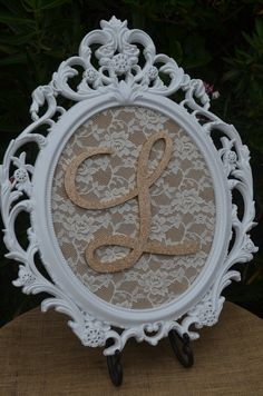 White burlap and lace framed letter-Nursery by ForeverLoveNotes
