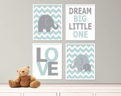 Printable Baby Boy Nursery Art Prints Elephant Nursery Art