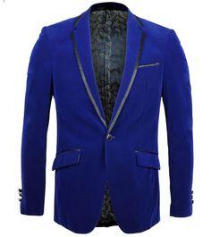 Mens Royal Blue Soft Velvet Blazer Trim Collar Pockets Dinner Jacket Tuxedo