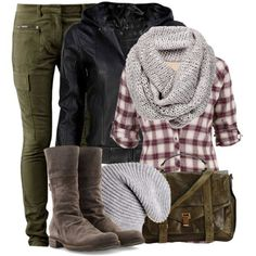 dark green skinny cargo pants or leggings, tall grey suede boots, black leather jacket, red and white or other colored plaid flannel button up shirt, light grey wool infinity scarf, and beanie.