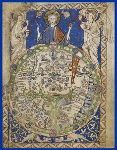 Old Maps, Antique Maps, Vintage Maps, Antique World Map, Medieval World, Medieval Art, Renaissance Art, British Library, World Map Art