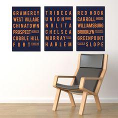 New York City. Subway Map Art. Typography Print Poster  - Blue and Orange - Set of 3 - 11x17