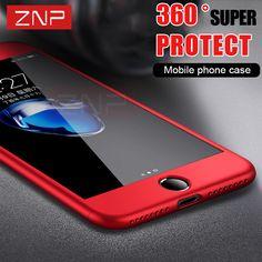 ZNP 5S Caso de La Cubierta Completa Para el iphone 6 6 S 5 Con Vidrio Templado 360 Grados de Caso Para iPhone 7 Plus 7 6 6 S Plus Phone Case Capa