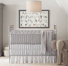 Elegant Gray Nursery. i like the big elephant