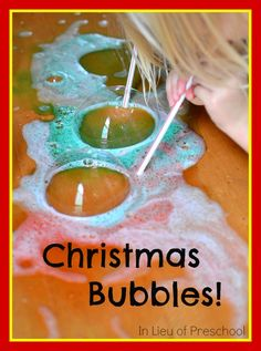 a super easy DIY solution for making red and green Christmas bubbles!
