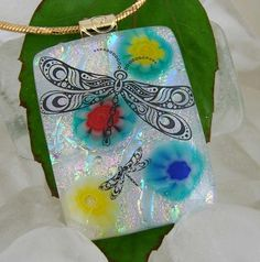 DRAGONFLIES, Dichroic Glass Pendant by dichroiccreations