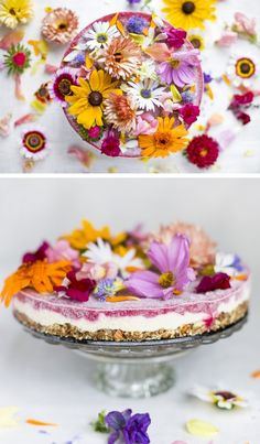 An insanely delicious raw and vegan Flower Power Cake. - packed with superfoods and decorated with a whole bouquet of flowers. Crunchy, lemony, fruity and sweet. It's not an exaggeration, this cake is crazy good. #vegan #raw #recipe