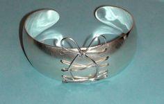 Wire Weaved Corset Cuff Bracelet with Bow Sterling by SecretAura, $159.00