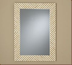 This pattern using tape to paint alternating gloss black stripes/chevrons on our oval wooden mirror frame.