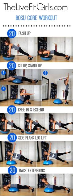 You can use this bosu ball in the gym or at home. This quick full body fitness routine will help you to get stronger with extra attention on your core muscles. Using a bosu ball is one of the best exercise in my opinion! Fitness Workouts, Bosu Workout, Fitness Motivation, Lower Ab Workouts, At Home Workouts, Workout Routines, Workout Exercises, Core Workouts, Ball Workouts