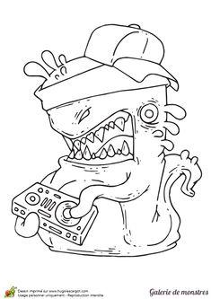 Une grande limace qui aime le Hip-Hop à colorier.
