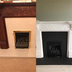 Great paint for updating fire surround Painted Fireplace Mantels, Paint Fireplace, Home Fireplace, Fireplace Remodel, Fireplace Ideas, Fireplace Design, Painted Fire Surround, Wooden Fire Surrounds, Fireplace Surrounds