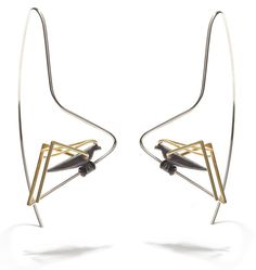 MAUDE LAPIERRE-CA--Grasshoppers earrings Silver 925, 18K Gold