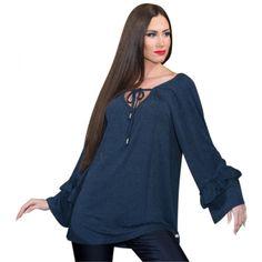 Μπλούζα με δέσιμο και Βολάν (5830) Plus Size Blouses, Kai, Tops, Women, Fashion, Moda, Fashion Styles, Fashion Illustrations, Chicken