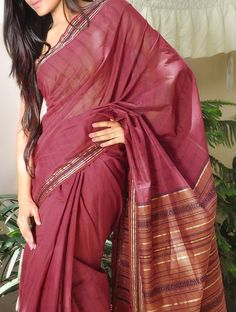 Maroon Saree with Stripes